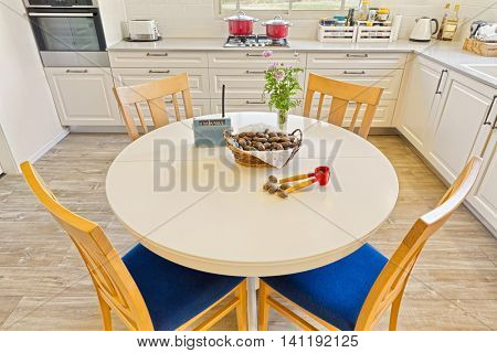 Classic Kitchen Interior Design And Dining Table
