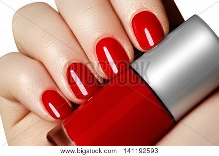 Manicure. Beautiful Manicured Woman\'s Hands With Red Nail Polish