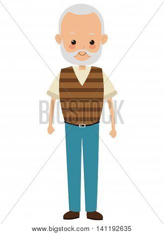 flat design elder man icon vector illustration