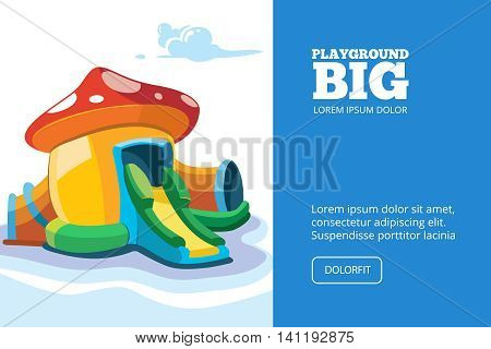 Vector illustration of inflatable castles and children hills on playground. Picture for cover, or your personal design project with place for your text