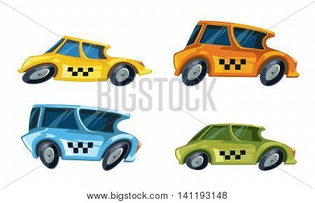 vector cartoon ilustrations of diferent color taxi cars set isolate on white background.