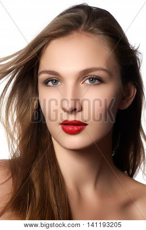 Fashion model girl portrait with long blowing hair. Glamour beautiful woman with healthy and beauty brown hair. Hair cosmetics haircare. Hair care extensions.