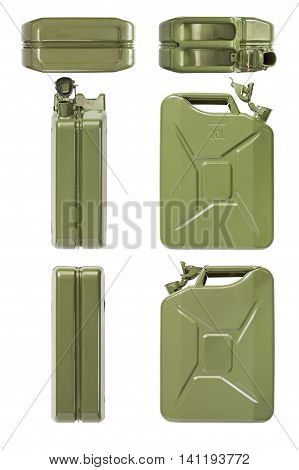 Open jerrycan. Set of all projections. Isolated on white.
