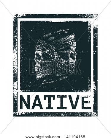 skull indian chief hand drawing style t-shirt design vector illustration
