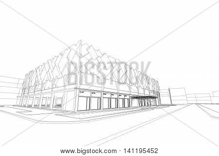 commercial building structure architecture abstract drawing, 3d illustration