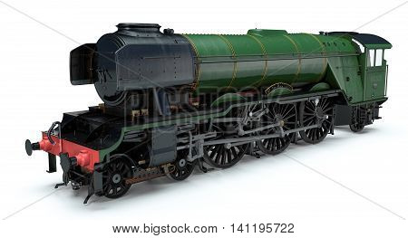 3d model of the flying scotsman depicted on a white background