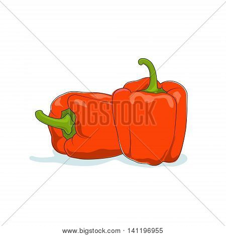 Orange Bell Pepper Isolated on White Background, Vegetables Sweet Pepper, Capsicum, Vector Illustration