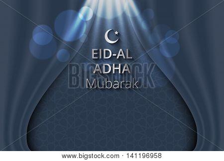 Creative illustration of islam pattern on open curtain background Festival of Sacrifice Eid-Al-Adha Mubarak.