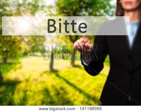 Bitte (please In German) -  Young Girl Working With Virtual Screen An Touching Button.