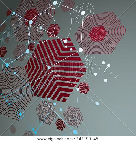 3d vector Bauhaus abstract red background made with grid and overlapping simple geometric elements hexagons and lines.