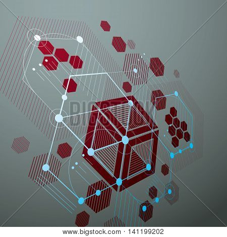 Bauhaus retro perspective red art vector background made using lines and honeycombs.