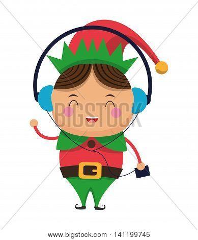 flat design happy cute christmas elf listening to music icon vector illustration