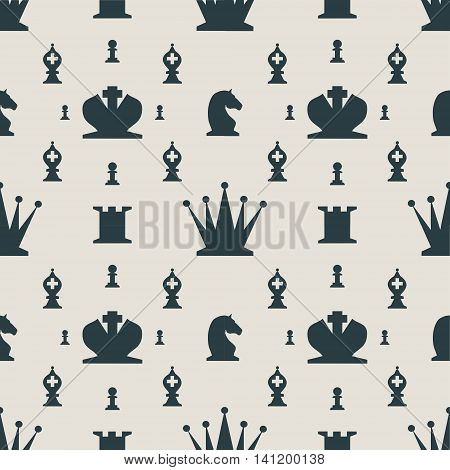 Chess Pieces Vector Seamless pattern. Flat style chess figures