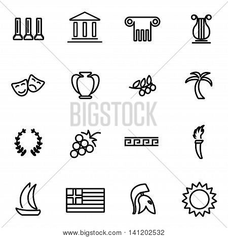 Vector line greece icon set on white background