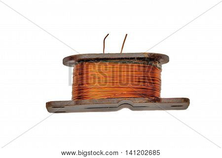 Ring core transformer on a white background