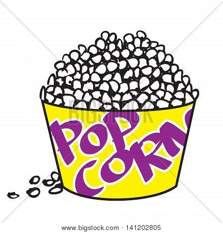 Vector illustration of big bowl of popcorn in colored doodle style