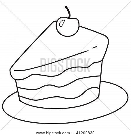 Vector illustration of cake slice in black and white outlined doodle style