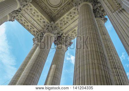 Wonderful view of Pantheon columns in Paris