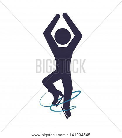skating skate silhouette person shoe winter sport hobby icon. Isolated and flat illustration. Vector graphic