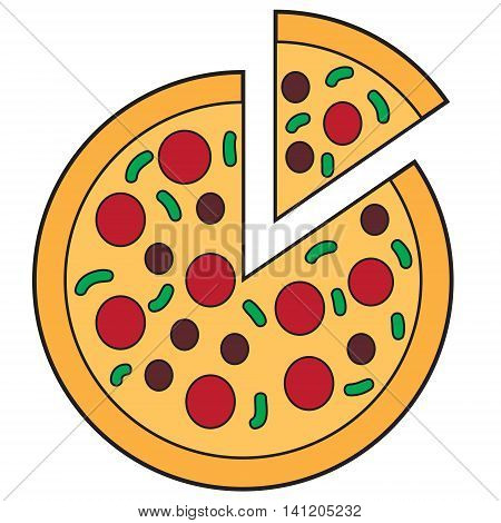 Vector illustration of round sliced pizza in doodle style