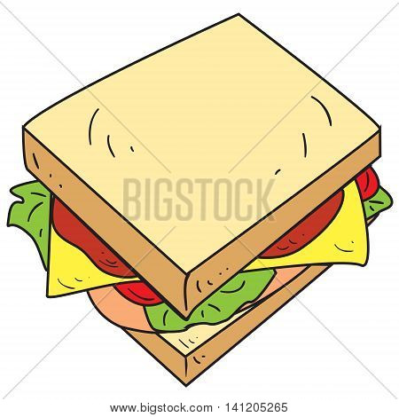 Vector illustration of cheese sandwich in colored doodle style