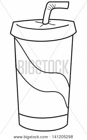 Vector illustration of takeaway soda drink in black and white outlined doodle style
