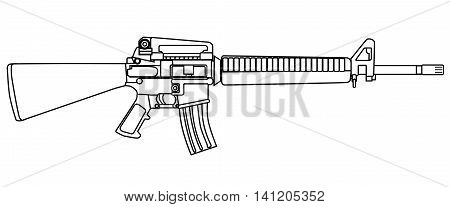 A typical army style assault weapon isolated on white.