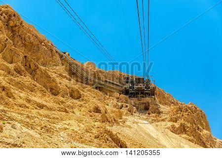 The ropeway to the Masada fortress - Israel