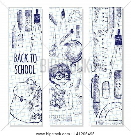 Set of school bookmarks. Vector illustration. Student school objects globe backpack pen pencil eraser bulb notebook scissors protractor glue dividers ruler. Sketch style. Black and white.