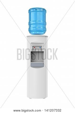 White Water Cooler isolated on white background. 3D render