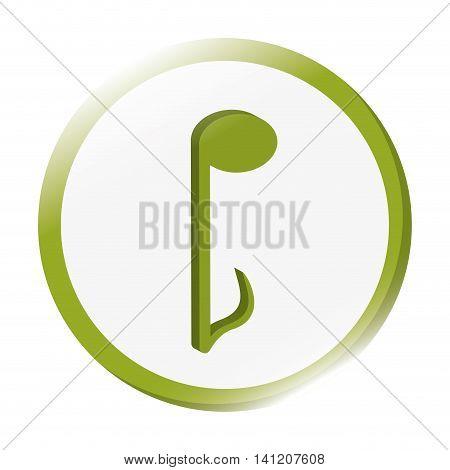 flat design quaver musical note icon vector illustration