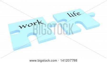Puzzle Pieces: Work Life Balance 3d illustration
