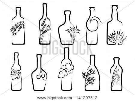 Icons of alcohol from fruit or plants from which it is produced