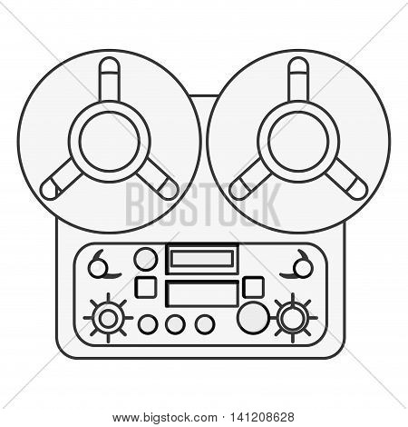flat design reel tape recorder icon vector illustration