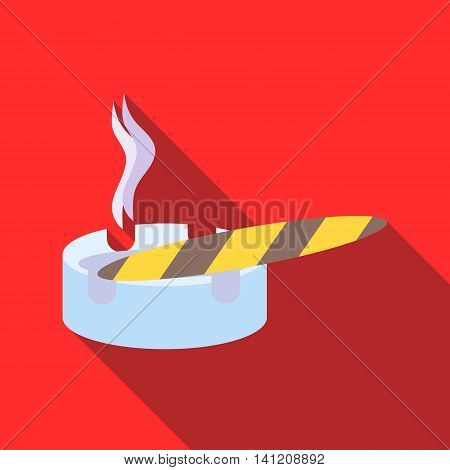 Cigar burned and ashtray icon in flat style on a red background