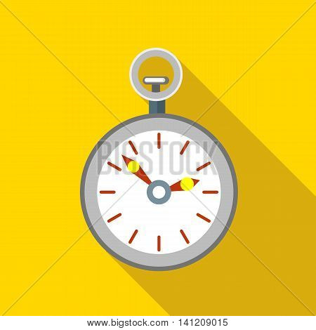 Pocket watch icon in flat style on a yellow background
