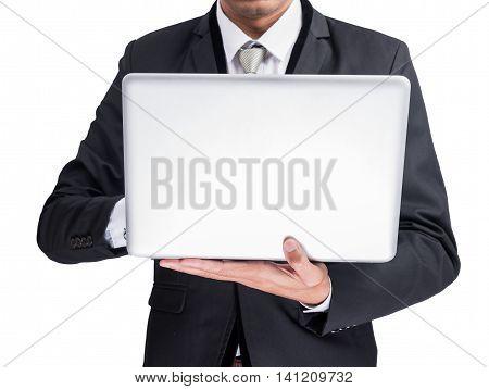 Yong Businessman Holding Laptop