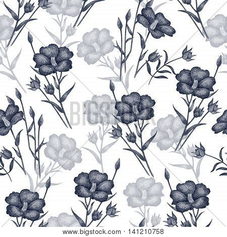 Vintage vector pattern with flowers linen in black and white. Graphic handmade textiles fabrics paper curtains curtains wallpaper vintage style.