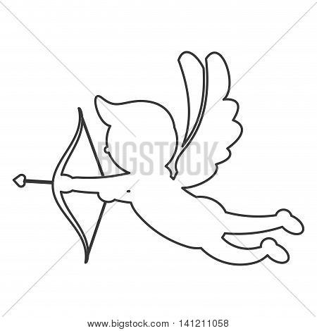 flat design cupid silhouette icon vector illustration