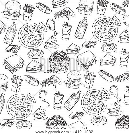 Vector illustration of fast foods in outlined doodle style