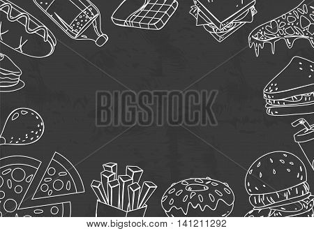 Vector illustration of fast foods in chalk doodle drawing style with blank space in the middle