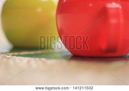 mugs tableware bright red green ball sphere