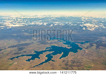 Aerial view of the clouds Lake Cordeaux south east coast of Australia, New South Wales, in eastern Australia
