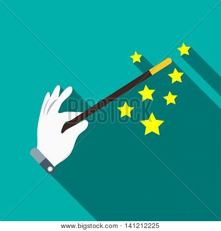 Magician hand with a magic wand icon in flat style on a turquoise background