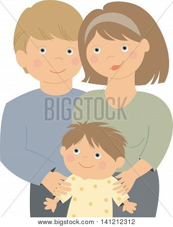 small boy, woman and man happy family couple
