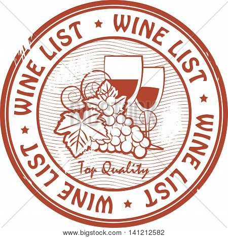 Grunge rubber stamp with words Wine List, vector illustration