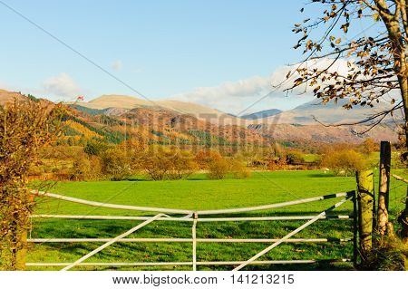 Wasdale Fells and field from Muncaster in Cumbria