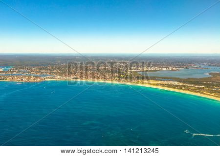 Aerial view of Bate Bay, Sydney, New South Wales, eastern Australia.  The beaches of Cronulla: Wanda Beach, Elouera Beach, North Cronulla Beach, Cronulla Beach, Blackwoods Beach and Shelly Beach.