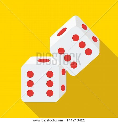 Two rolling white dice icon in flat style on a yellow background