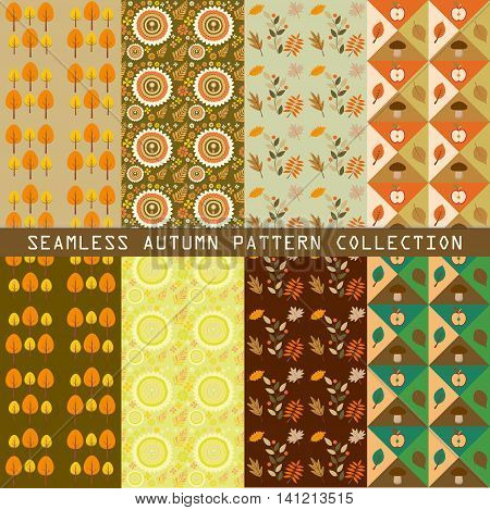 beautiful seamless vector autumn patterns collection with leaves